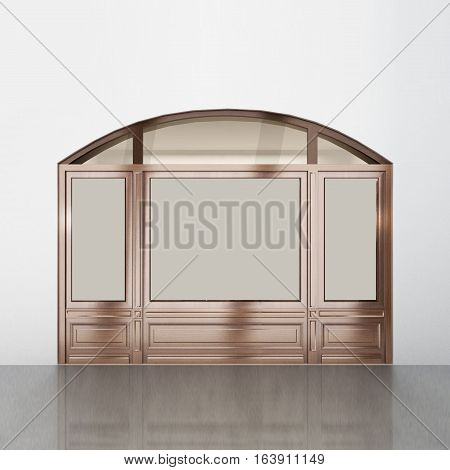 The shopping window was made from wood