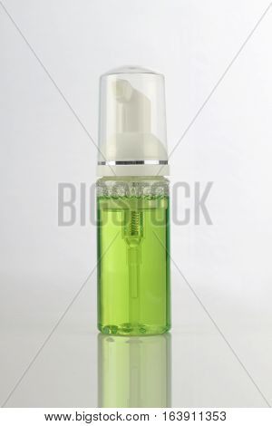 Green Cosmetic Product Pump Bottle for Mockup