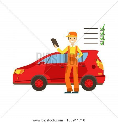 Smiling Mechanic Analysing With Checklist In The Garage, Car Repair Workshop Service Illustration. Cartoon Male Character In Dungarees Working In Auto Repair Shop.