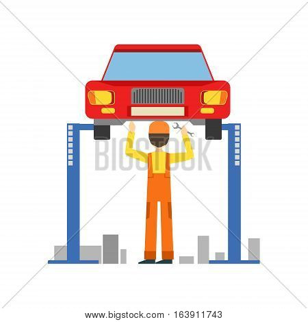 Smiling Mechanic Working Under Lifted Vehicle In The Garage, Car Repair Workshop Service Illustration. Cartoon Male Character In Dungarees Working In Auto Repair Shop.