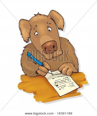 Dog Writing A Letter