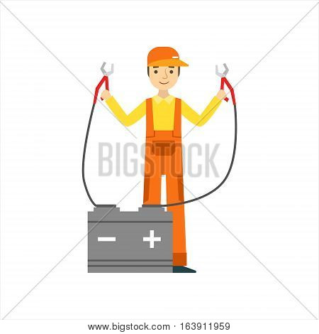 Smiling Mechanic Charging The Battery In The Garage, Car Repair Workshop Service Illustration. Cartoon Male Character In Dungarees Working In Auto Repair Shop.