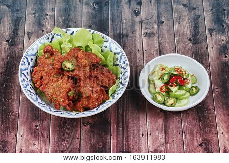 Thai Food,curried Fish Cake (tod Mun Pla Krai)