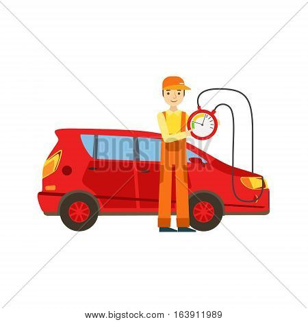 Smiling Mechanic Checking The Battery Power In The Garage, Car Repair Workshop Service Illustration. Cartoon Male Character In Dungarees Working In Auto Repair Shop.