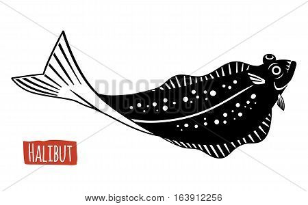 Halibut, black and white vector illustration, cartoon style