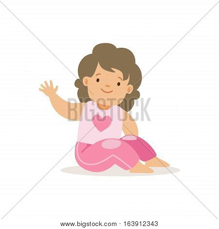 Girl In Pink Pants Waving, , Adorable Smiling Baby Cartoon Character Every Day Situation. Part Of Cute Infants And Toddlers Vector Illustration Series