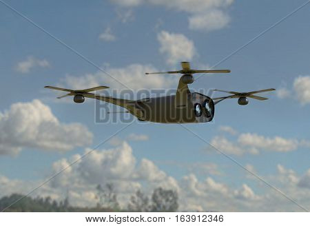 modern camera drone in flight, front view of the futuristic black drone concept 3D render