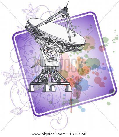 Satellite dishes antena - doppler radar & color paint background. Eps10
