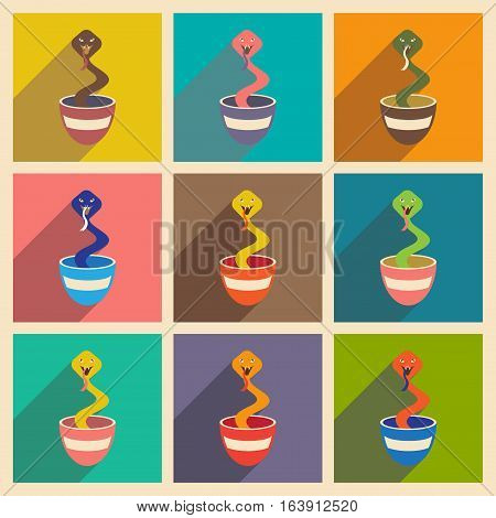 Modern flat icons collection with long shadow Indian cobra