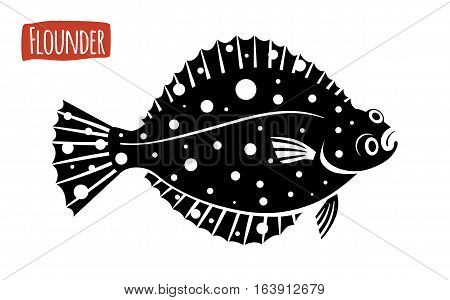 Flounder, black and white vector illustration, cartoon style