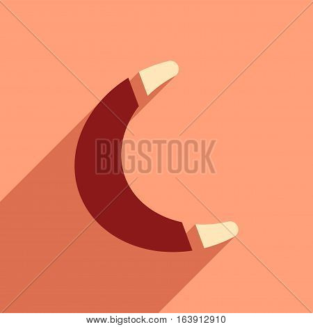 flat icon with long shadow toy boomerang