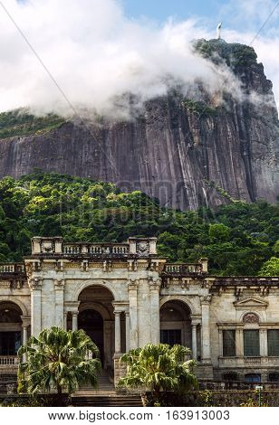 Rio de Janeiro Brazil - January 3 2017: Italian architecture style mansion in Parque Lage. It is now a School of Visual Arts of Rio de Janeiro