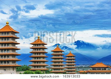 View of traditional oriental pagodas in Fo Guang Shan in the evening