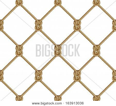 Seamless pattern background yellow rope woven in the form fishing net isolated on white