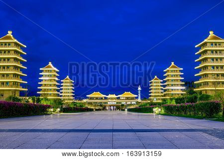 View of Fo Guang Shan traditional architecture at night