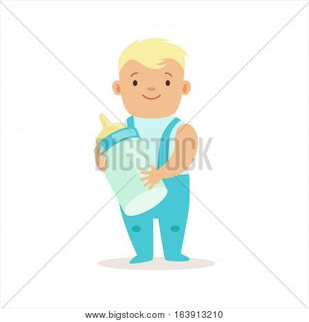 Boy In Blue Pants Standing With Milk Bottle, Adorable Smiling Baby Cartoon Character Every Day Situation. Part Of Cute Infants And Toddlers Vector Illustration Series