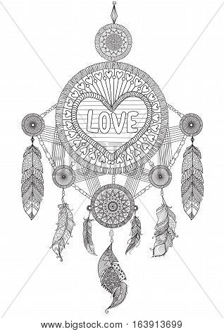 Heart shape dream catcher with beautiful feathers for coloring book for adult, wedding invitation and valentine's card