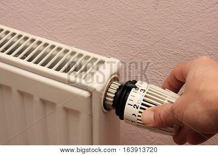 Manual adjustment Radiator with thermostatic valve - photo