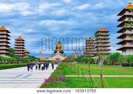 KAOSHIUNG, TAIWAN - NOVEMBER 23: This is a view of the Buddha Memorial Center in Fo Guang Shan a famous buddha museum and monastery on November 23, 2016 in Kaoshiung