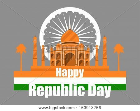 Republic Day Of India. Taj Mahal With Flag And Palm Trees. Vector Illustration.