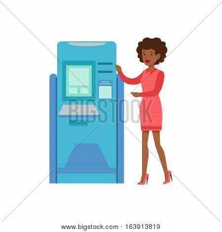 Woman Standing Next To ATM Cash Machine. Bank Service, Account Management And Financial Affairs Themed Vector Illustration. Smiling Cartoon Characters In Bank Office Interior Vector Illustration.