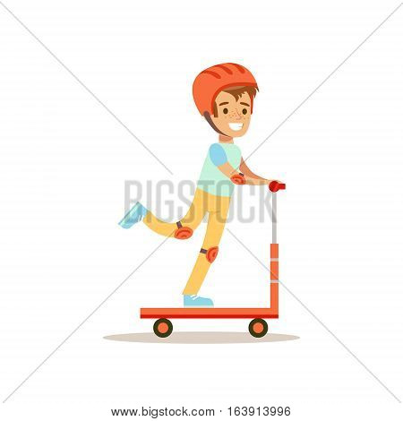 Boy In Helmet Riding Scooter, Traditional Male Kid Role Expected Classic Behavior Illustration. Part Of Series With Smiling Teenage Boys And Their Interests Vector Characters.