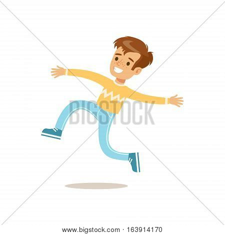 Boy In Sweater Jumping And Running, Traditional Male Kid Role Expected Classic Behavior Illustration. Part Of Series With Smiling Teenage Boys And Their Interests Vector Characters.