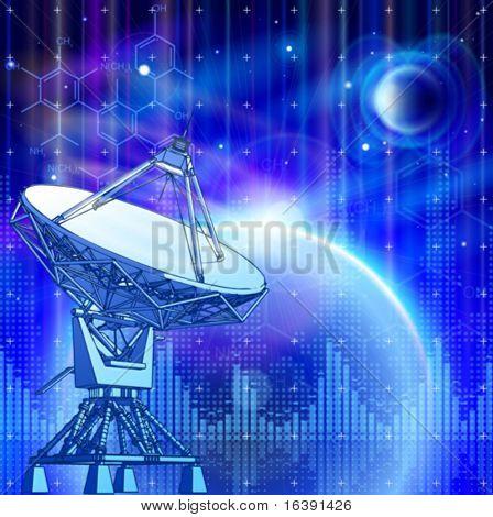 satellite dishes antenna - doppler radar, blue planets, electromagnetic waves & chemical formulas - technology background