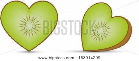 Illustration of a kiwi in the shape of heart on white background