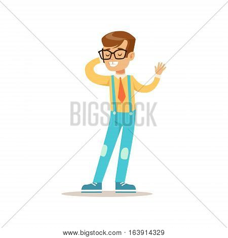 Boy In Glasses Speaking On The Phone, Traditional Male Kid Role Expected Classic Behavior Illustration. Part Of Series With Smiling Teenage Boys And Their Interests Vector Characters.