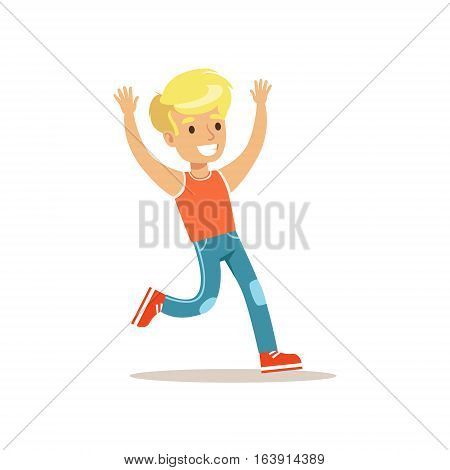 Blond Boy Running, Traditional Male Kid Role Expected Classic Behavior Illustration. Part Of Series With Smiling Teenage Boys And Their Interests Vector Characters.