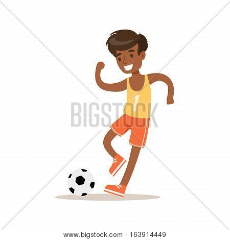 Boy Playing Football, Traditional Male Kid Role Expected Classic Behavior Illustration. Part Of Series With Smiling Teenage Boys And Their Interests Vector Characters.
