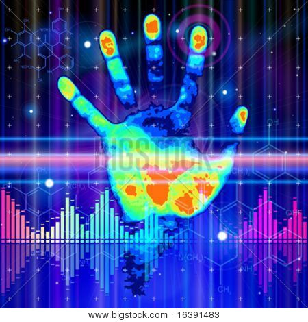 Thermal hand print, blue technology background, lights, chemical formulas & digital wave