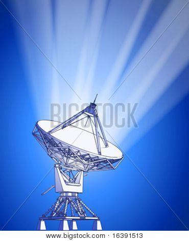 satellite dishes antenna - doppler radar, rays of light & blue technology background