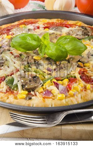 freshly baked pizza with vegetable and basil from the oven