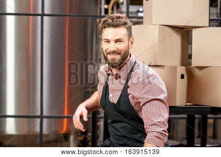 Portrait of a handsome brewer in apron and checkered shirt at the manufacturing