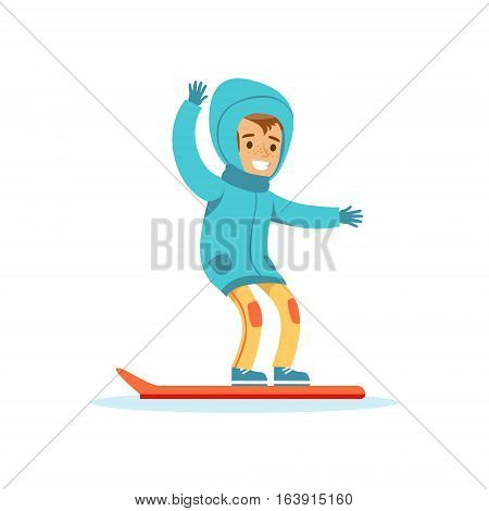 Boy Snowboarding, Traditional Male Kid Role Expected Classic Behavior Illustration. Part Of Series With Smiling Teenage Boys And Their Interests Vector Characters.