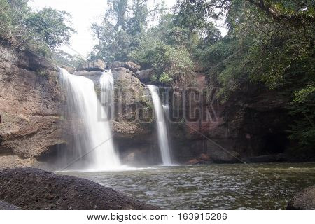 Haew Suwat Waterfall the beautiful waterfall in deep forest at Khao Yai National Park Thailand