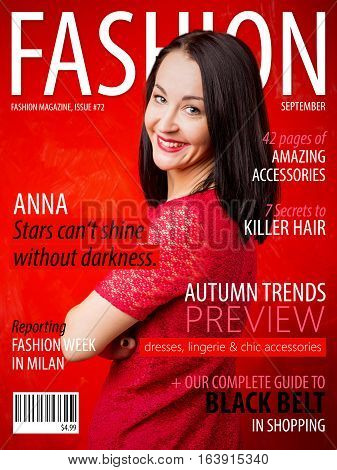 Sample fashion magazine cover with woman on it