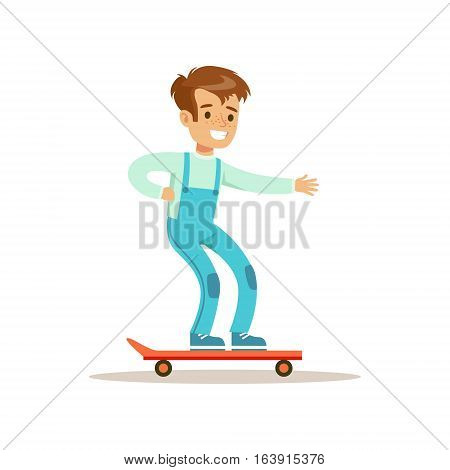 Boy On Skateboard, Traditional Male Kid Role Expected Classic Behavior Illustration. Part Of Series With Smiling Teenage Boys And Their Interests Vector Characters.