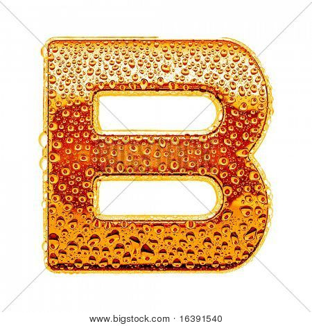 Orange gold alphabet symbol - letter B. Water splashes and drops on glossy metal. Isolated on white
