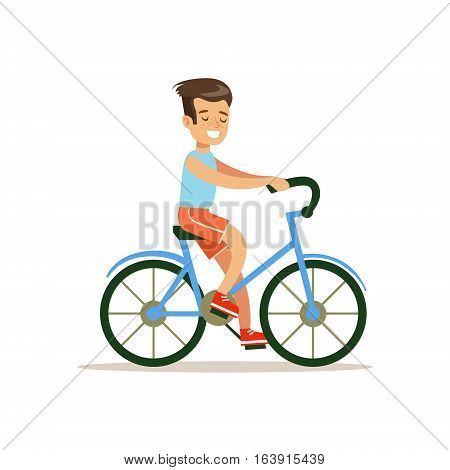Boy Riding Bicycle, Traditional Male Kid Role Expected Classic Behavior Illustration. Part Of Series With Smiling Teenage Boys And Their Interests Vector Characters.