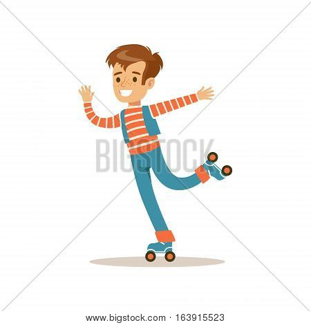 Boy Roller Skating, Traditional Male Kid Role Expected Classic Behavior Illustration. Part Of Series With Smiling Teenage Boys And Their Interests Vector Characters.