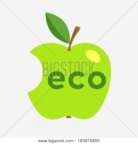 Green Apple With Missing A Bite
