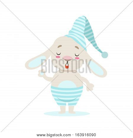Little Girly Cute White Pet Bunny In Stripy Blue Night Hat, Cartoon Character Life Situation Illustration. Humanized Rabbit Baby Animal And Its Activity Emoji Flat Vector Drawing
