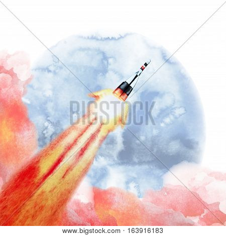 Rocket launch into the sky. Watercolor illustration isolated on white background
