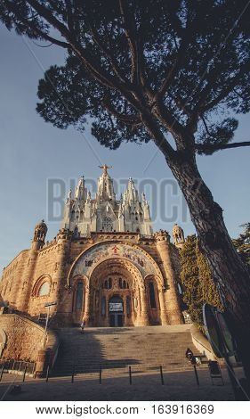 Panoramic mountain landscape in a city Barcelona. Europa Barcelona Spain. Old Building in Barcelona Spain. Top view of the city. Barselona panorama. Temple Sacred Heart of Jesus on Tibidabo in Barcelona