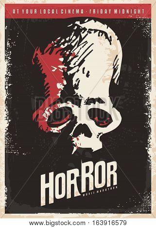Cinema poster design for horror movies. Skull drawing on dark background. Retro vector illustration.