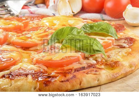 italian pizza with tomatoes melted cheese and garlic on a wooden board