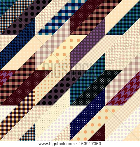 Seamless background pattern. Geometrical Hounds-tooth pattern in a patchwork style.